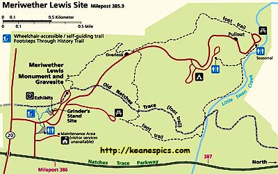 Meriwether Lewis Burial Site Map