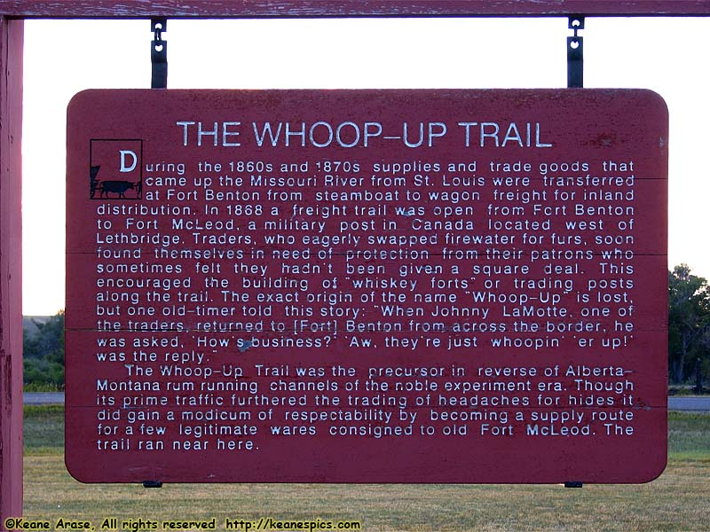 The Whoop-up Trail sign