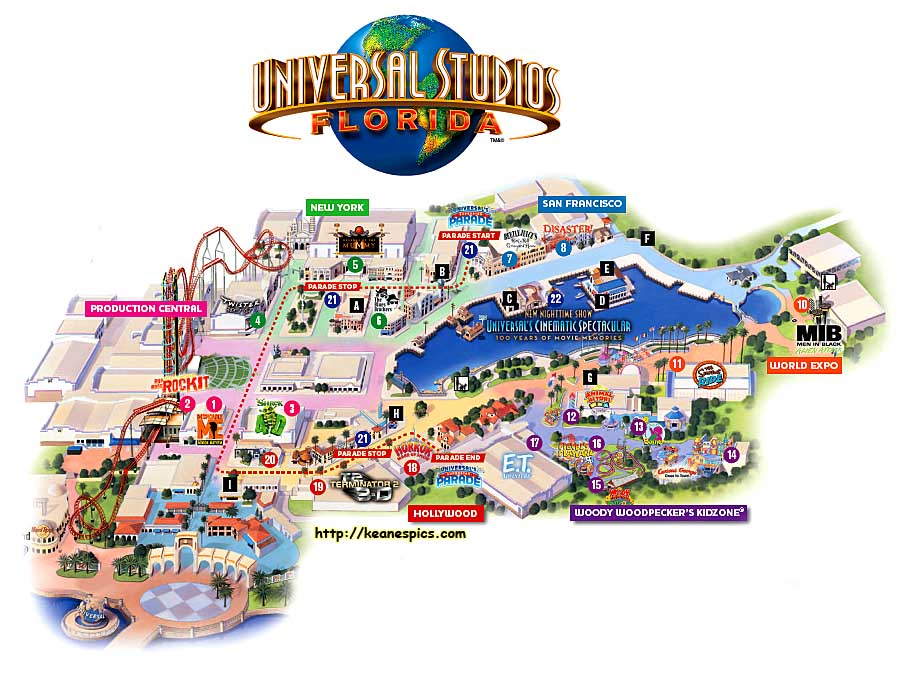 Keanes Picture Web Site Map of Universal Studios Florida