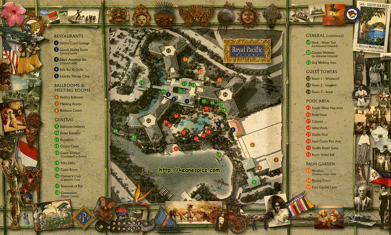 Keane S Picture Web Site Map Of The Royal Pacific Resort At