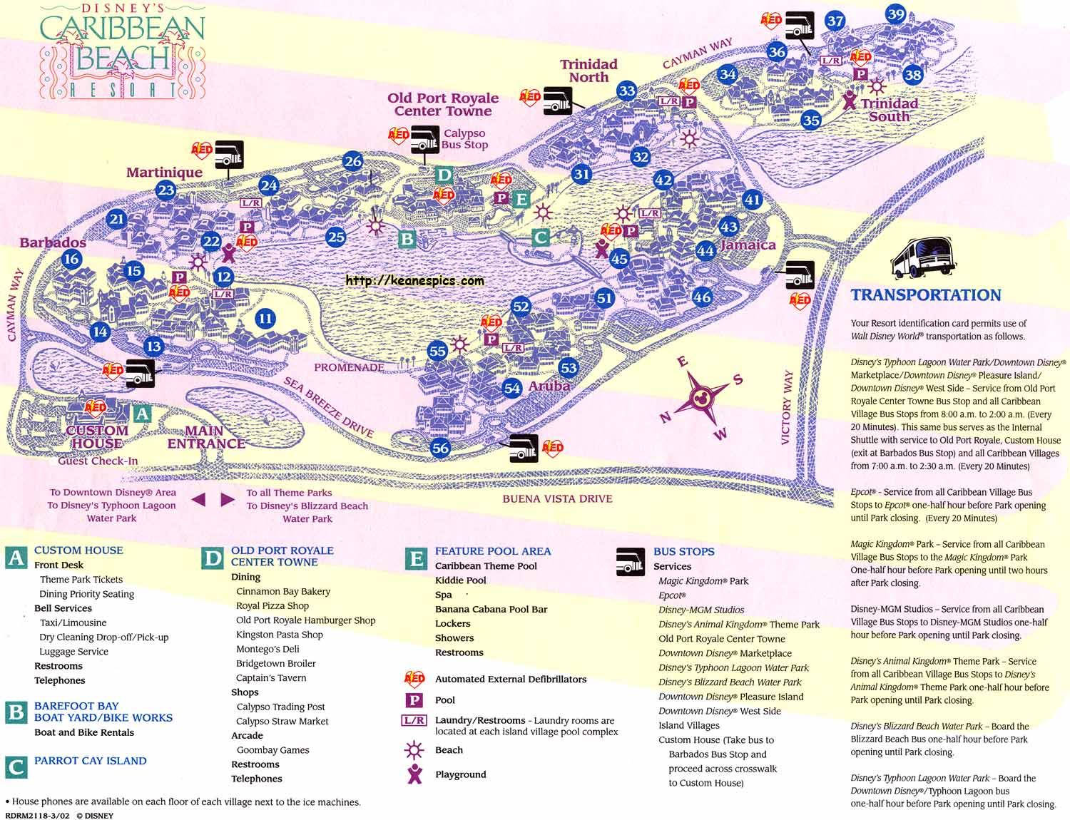 Keane's Picture Web Site - Map of Disney's Caribbean Beach ...